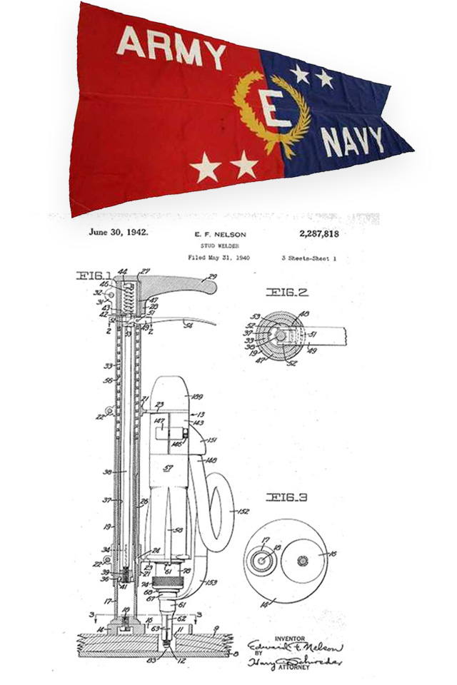 navy e citation with nelson stud gun patent drawing
